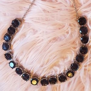 Black Faceted Iridescent & Silver Necklace